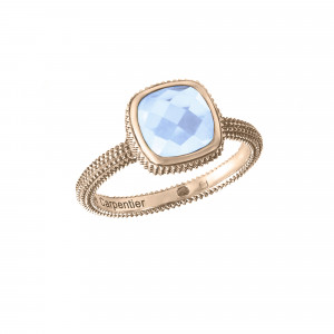 Pills, guilloched ring, pink vermeil, faceted blue topaz, cushion size
