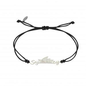Globe-Trotter, Sydney bracelet, 925 silver, white rhodium, nylon cord,