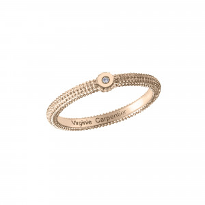 Pills, guilloched ring, rose gold-plated 925 silver, white diamond,