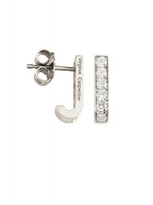 Pills small drop earrings, white gold, white diamonds