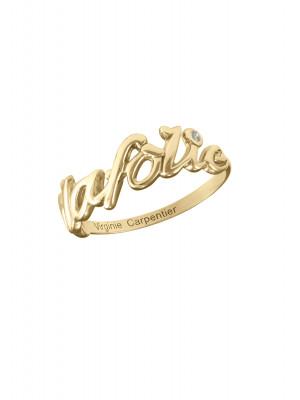 'Alafolie' ring, yellow vermeil, white diamond,