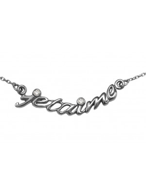 Choker chain 'Jetaime', black gold, white diamonds,