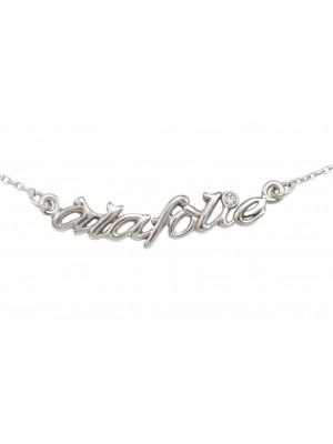 Choker chain 'Alafolie', silver 925, white rhodium, white diamond,