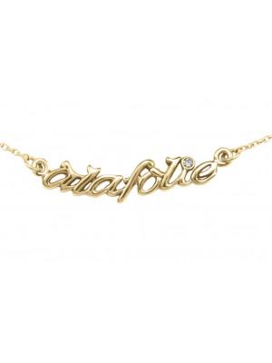 Choker chain 'alafolie', yellow gold, white diamond,
