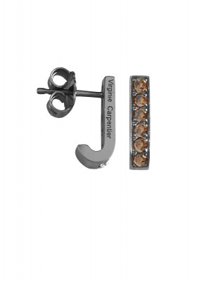 Pills, small drop earrings, silver 925, black rhodium, Cognac Swarovski stones