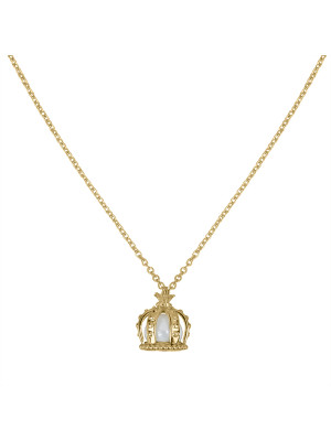 Princesse Tipois chain pendant, crown, yellow silver gilt,  fresh water pearl