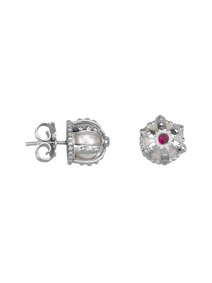 Princesse Tipois earrings, crowns, fresh water pearl, synthetic red stone Swarovski, silver 925