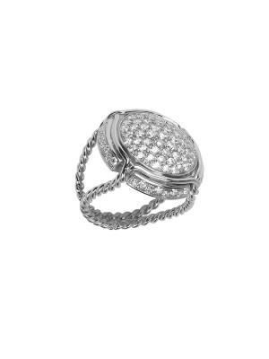 Champ !, signet ring, paving white diamonds, twisted ring, white gold, 18 kt,