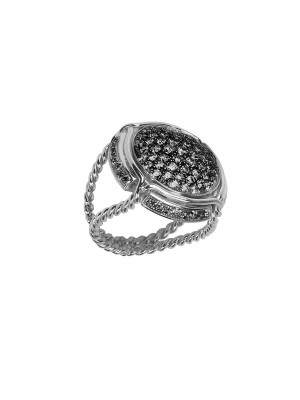 Champ !, signet ring, paving black diamonds, twisted ring, white gold,18 kt,