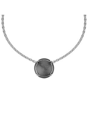 Champ ! Satiny white gold black rhodium-plated capsule pendant, white gold muselet,