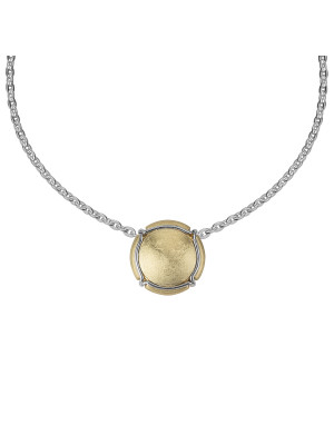 Champ ! Satiny yellow gold capsule pendant, white gold muselet,