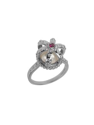 Princesse Tipois ring, crown, fresh water pearl, pink rhodolite, white gold