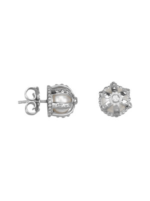 Princesse Tipois earrings, crowns, white gold,  fresh water pearls, white diamonds