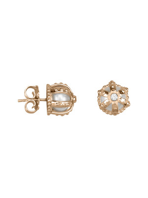 Princesse Tipois earrings, crowns, pink gold,  fresh water pearls, white diamonds