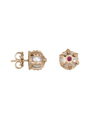 Princesse Tipois earrings, crowns, pink gold, fresh water pearls, pink rhodolites