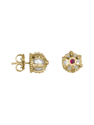 Princesse Tipois earrings, crowns, yellow gold,  fresh water pearls, pink rhodolites