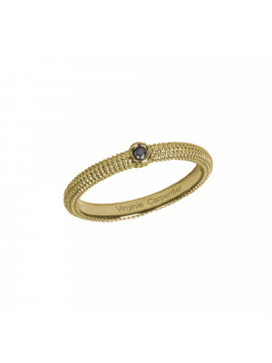 Pills, guilloched ring, 18k yellow gold, black diamond,