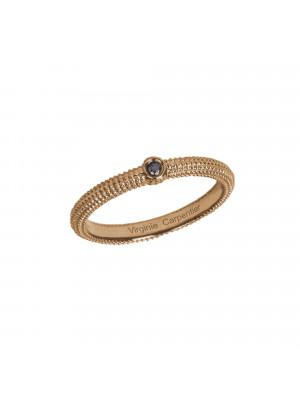 Pills, guilloched ring, 18k rose gold, black diamond,