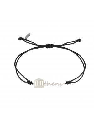 Globe-Trotter, Athens bracelet, 925 silver, white rhodium, nylon cord,