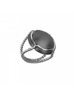 Champ!, signet ring, black rhodium-plated white gold satiny capsule, white gold twisted ring,