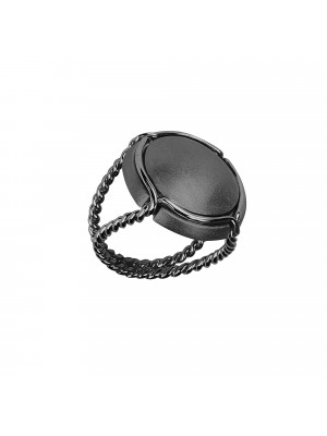 Champ!, signet ring, black rhodium-plated 925 silver satiny capsule, black rhodium-plated 925 silver twisted ring,