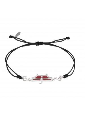 Globe-Trotter, Beijing  bracelet, 925 silver, white rhodium, nylon cord,