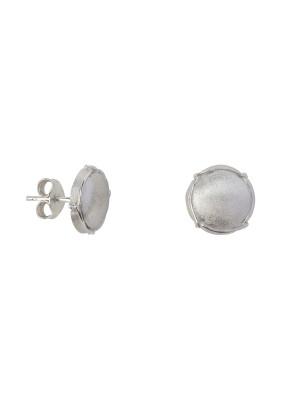 Champ!, ear chips, satin white rhodium-plated 925 silver, mini-capsules, muselet, white rhodium-plated 925 silver,