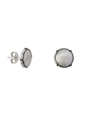 Champ!, ear chips, satin white rhodium-plated 925 silver, mini-capsules, muselet, black rhodium-plated 925 silver,