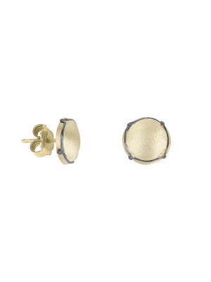 Champ!, ear chips, satin yellow gold-plated 925 silver, mini capsules, muselet, black rhodium-plated 925 silver,