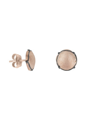 Champ!, ear chips, satin rose gold-plated 925 silver, mini-capsules, muselet, black rhodium-plated 925 silver,