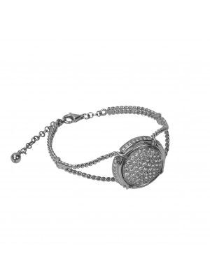 Champ!, Bracelet, twisted bangle, white gold, capsule, paving white diamonds, (size M)