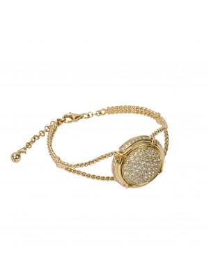 Champ!, Bracelet, twisted bangle, yellow gold, capsule, paving white diamonds, (size M)