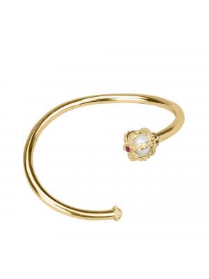 Princesse Tipois bangle, crown, fresh water pearl, pink rhodolites, yellow gold