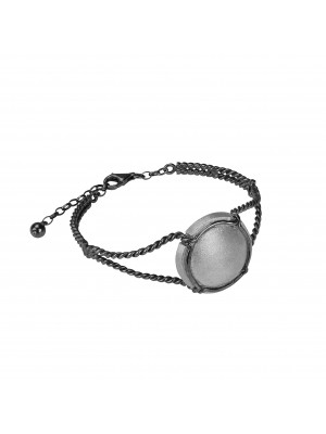 Champ!, twisted bangle, black rhodium-plated 925 silver, satin-finish capsule, white rhodium-plated 925 silver, (Size M)