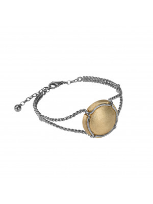 Champ!, twisted bangle, white rhodium-plated 925 silver, satin-finish capsule, yellow gold-plated 925 silver, (Size M)