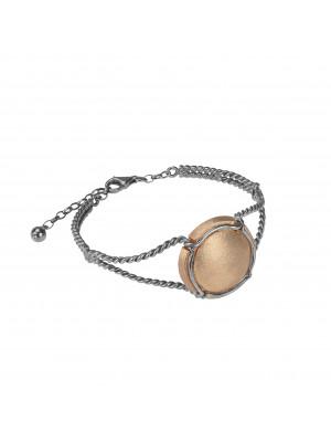 Champ!, twisted bangle, white gold, satin-finish capsule, rose gold, (Size M)
