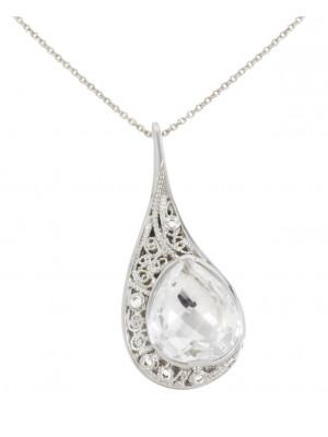 """La larme du Crocodile"", ""The Crocodile Tear"", necklace chain, pendant, filigree, white gold, Rock Crystal, faceted, pear cut, white diamonds,"