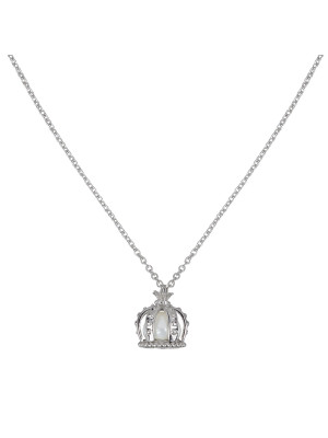 Princesse Tipois chain pendant, crown, white gold, fresh water pearl