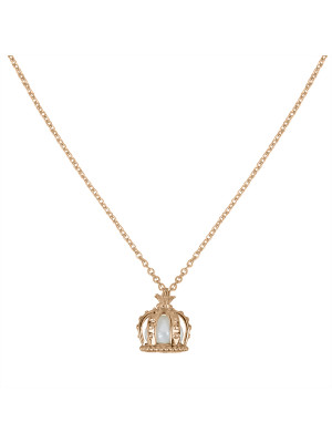 Princesse Tipois chain pendant, crown, pink gold, a fresh water pearl