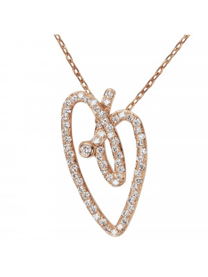 Joli Cœur necklace, choker chain, heart pendant, rose gold, white diamond paving,