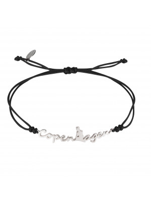 Globe-Trotter, Copenhagen bracelet, 925 silver, white rhodium, nylon cord,