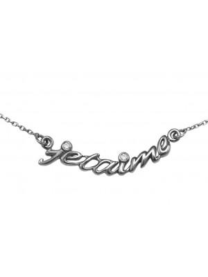 Choker chain 'Jetaime', silver 925, black rhodium, white diamonds,