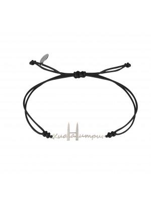 Globe-Trotter, Kuala Lumpur bracelet, 925 silver, white rhodium, nylon cordon,