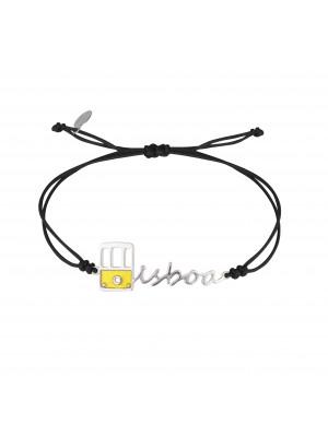 Globe-Trotter, Lisbon bracelet, 925 silver, white rhodium, nylon cord,