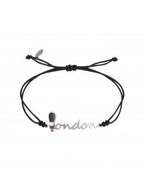 Globe-Trotter, London bracelet, 925 silver, white rhodium, nylon cord,