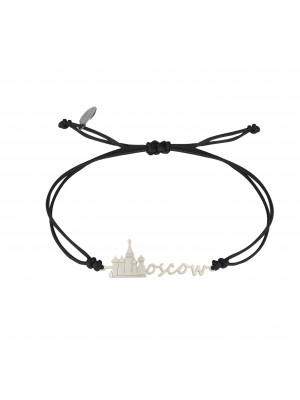 Globe-Trotter, Moscow bracelet, 925 silver, white rhodium, nylon cord,