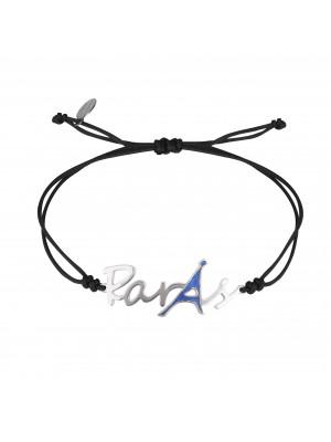 Globe-Trotter, Paris bracelet, 925 silver, white rhodium, nylon cord,