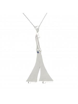 """Parizou -Parizette"", ""Parizou""  Chain Pendant, Satiny  And Polished finish, 925 Silver, blue Swarovski crystal,"