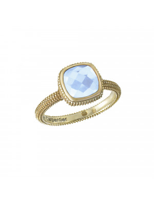 Pills, guilloched ring, yellow gold, faceted blue topaz, cushion size,