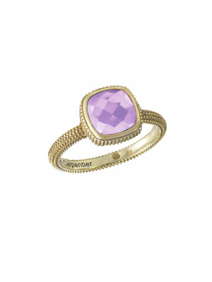 Pills, guilloched ring, yellow gold-plated 925 silver, faceted amethyst, cushion size,
